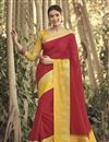 image of Maroon Chanderi Fabric Weaving Work Occasion Wear Saree