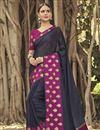 image of Function Wear Black Weaving Work Saree In Chanderi