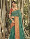image of Dark Green Designer Chanderi Occasion Wear Weaving Work Saree