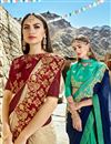 photo of Cream Color Fancy Fabric Function Wear Saree With Embroidery Work