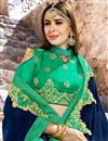 photo of Occasion Wear Cyan Embroidery Work Saree In Fancy Fabric