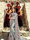 image of Grey Embroidered Fancy Fabric Wedding Wear Saree With Blouse