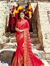 image of Embroidery Work On Fancy Fabric Red Designer Saree