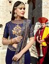 photo of Occasion Wear Navy Blue Embroidered Saree In Fancy Fabric