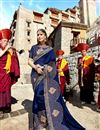 image of Occasion Wear Navy Blue Embroidered Saree In Fancy Fabric