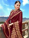 photo of Maroon Fancy Fabric Function Wear Saree With Embroidery Work