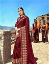 image of Maroon Fancy Fabric Function Wear Saree With Embroidery Work