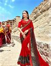image of Fancy Fabric Party Wear Saree In Red With Embroidery Designs