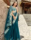 photo of Teal Color Fancy Fabric Function Wear Saree With Embroidery Work