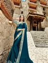 image of Teal Color Fancy Fabric Function Wear Saree With Embroidery Work