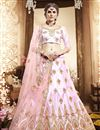image of Pink Color Art Silk Fabric Reception Wear Lehenga Choli With Embroidery Work
