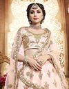 photo of Chikoo Designer Reception Lehenga With Embroidery Work On Art Silk Fabric