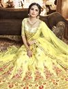 photo of Embroidered Wedding Wear Lehenga Choli In Yellow Art Silk Fabric