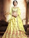 image of Embroidered Wedding Wear Lehenga Choli In Yellow Art Silk Fabric