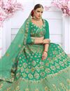photo of Art Silk Fabric Wedding Wear 3 Piece Lehenga In Green With Embroidery Work