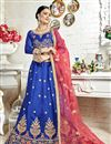 image of Banglori Silk Fabric Blue Occasion Wear Lehenga Choli With Embroidery Work