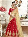 image of Embroidered Red Banglori Silk Fabric Function Wear Lehenga Choli With Party Wear Blouse