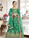 image of Embroidered Occasion Wear Lehenga In Green Banglori Silk Fabric