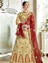 image of Cream Designer Embroidered Lehenga Choli In Banglori Silk Fabric With Alluring Blouse