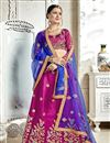 image of Banglori Silk Fabric Magenta Occasion Wear Lehenga Choli With Embroidery Work