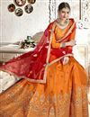 photo of Orange Banglori Silk Fabric Festive Wear Embroidered Chaniya Choli With Beautiful Blouse
