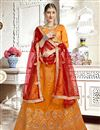 image of Orange Designer Lehenga With Embroidery Designs And Enigmatic Blouse