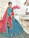 photo of Embroidered Occasion Wear Lehenga In Sky Blue Banglori Silk Fabric