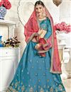 image of Embroidered Occasion Wear Lehenga In Sky Blue Banglori Silk Fabric