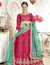 image of Embroidered Dark Pink Banglori Silk Fabric Function Wear Lehenga Choli With Party Wear Blouse