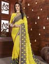 image of Embroidered Chiffon Fabric Yellow Color Party Wear Saree With Blouse