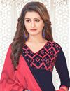 photo of Casual Party Style Cotton Navy Blue Embroidered Designer Salwar Suit