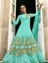 image of Embroidery Designs On Cyan Art Silk Party Wear Anarkali Salwar Suit