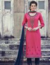 image of Cotton Fabric Casual Wear Embroidered Pink Straight Cut Churidar Suit