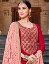 photo of Party Style Straight Cut Art Silk Red Designer Suit With Embroidered Dupatta