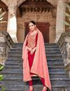 image of Party Style Straight Cut Art Silk Red Designer Suit With Embroidered Dupatta