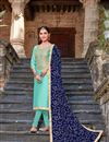 image of Festive Wear Cyan Designer Suit In Art Silk With Fancy Dupatta