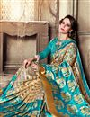 photo of Jacquard Work Sky Blue Saree In Art Silk Fabric With Party Wear Blouse