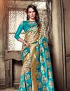 image of Jacquard Work Sky Blue Saree In Art Silk Fabric With Party Wear Blouse