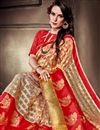 photo of Designer Saree In Red Art Silk With Jacquard Work And Party Wear Blouse