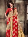 image of Designer Saree In Red Art Silk With Jacquard Work And Party Wear Blouse