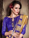 photo of Jacquard Work Blue Wedding Wear Art Silk Saree With Designer Blouse