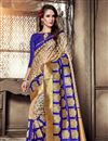image of Jacquard Work Blue Wedding Wear Art Silk Saree With Designer Blouse