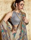 photo of Weaving Work Grey Wedding Wear Saree In Art Silk Fabric With Designer Blouse