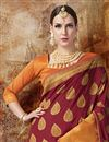 photo of Weaving Work On Maroon Banarasi Silk Party Wear Saree With Enticing Blouse
