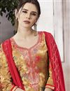 photo of Occasion Wear Beige Embroidered Palazzo Suit In Cotton Fabric