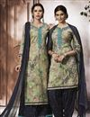 image of Occasion Wear Cream Patiala Salwar Kameez In Cotton Fabric
