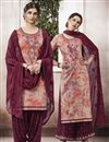 image of Pink Cotton Fabric Function Wear Patiala Suit With Embroidery Work