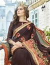 photo of Brown Fancy Wedding Wear Georgette Saree With Embroidery