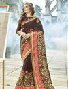 image of Brown Fancy Wedding Wear Georgette Saree With Embroidery
