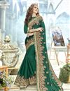 image of Teal Fancy Wedding Wear Georgette Saree With Embroidery